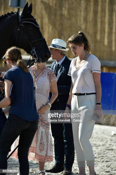 Athina Onassis and AD Rackham 'Jo during the Longines Grand Prix Athina Onassis Horse Show on June 3 2017 in St Tropez France