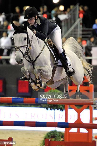 Athina Onassis de Miranda competes in the Garage Nepple Price International Challenge 145 m Table A against the clock as part of the the CSI Basel...