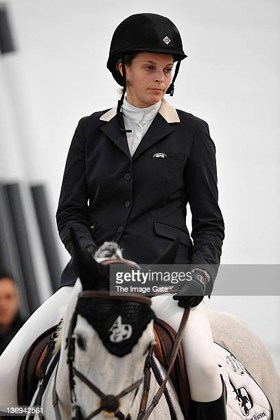 Athina Onassis de Miranda looks on after competing in the Garage Nepple Price International Challenge 145 m Table A against the clock as part of the...