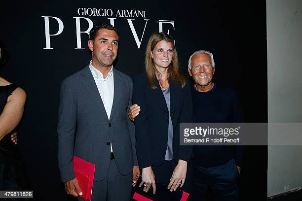 Athina Onassis her husband Alvaro de Miranda Neto and Giorgio Armani pose Backstage after the Giorgio Armani Prive show as part of Paris Fashion Week...