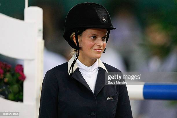 Athina Onassis looks on during the Athina Onassis International Horse Show at the Equestrian Brazilian Society on August 26 2010 in Rio de Janeiro...