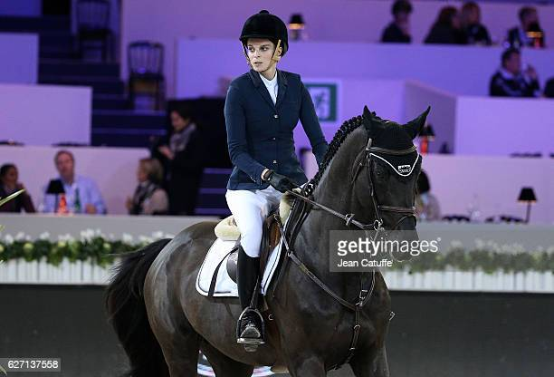 Athina Onassis of Greece competes at the CSI2 Prestige event during the Longines Masters at Parc des Expositions on December 1 2016 in Villepinte...