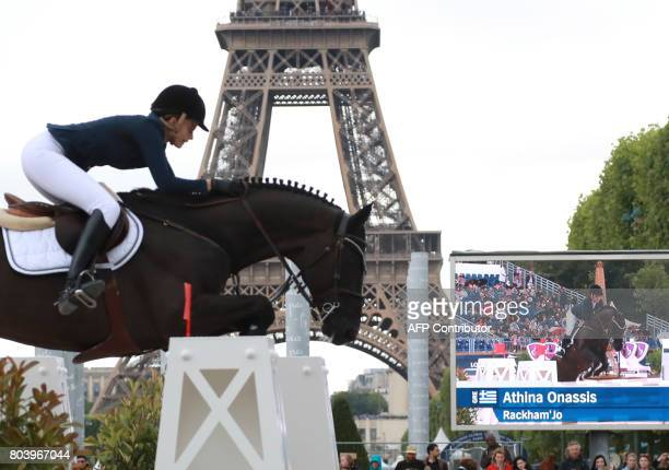 Athina Onassis of Greece riding Rackham'Jo competes in the Paris Eiffel Jumping event on June 30 2017 in Paris DEMARTHON