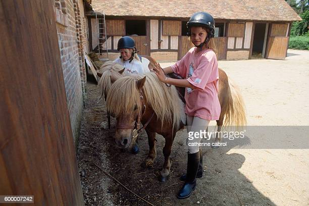 Athina Onassis Roussel granddaughter of Greek shipping magnate Aristotle Onassis at riding stables