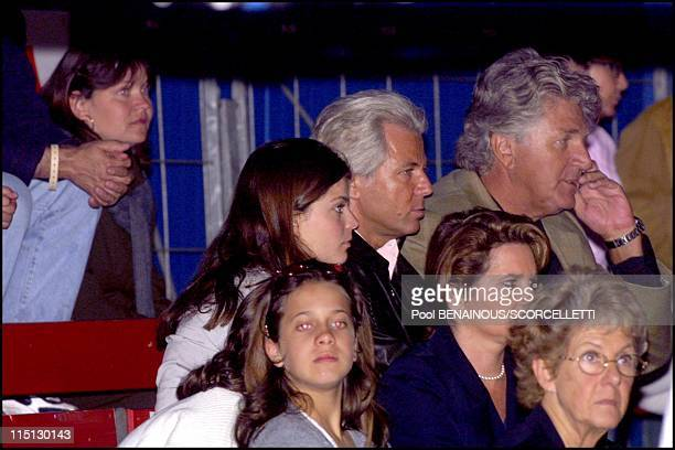 Athina Roussel at the Jumping of Monaco in Monaco City Monaco on April 27 2001 With her father Thierry Roussel