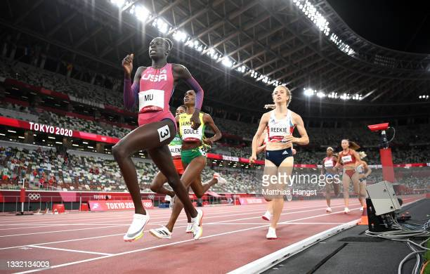 Athing Mu of Team United States leads Natoya Goule of Team Jamaica and Jemma Reekie of Team Great Britain in the Women's 800m final on day eleven of...