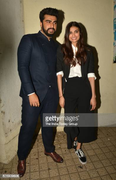 Athiya Shetty and Arjun Kapoor during the screening of the film Mubarakan in Mumbai
