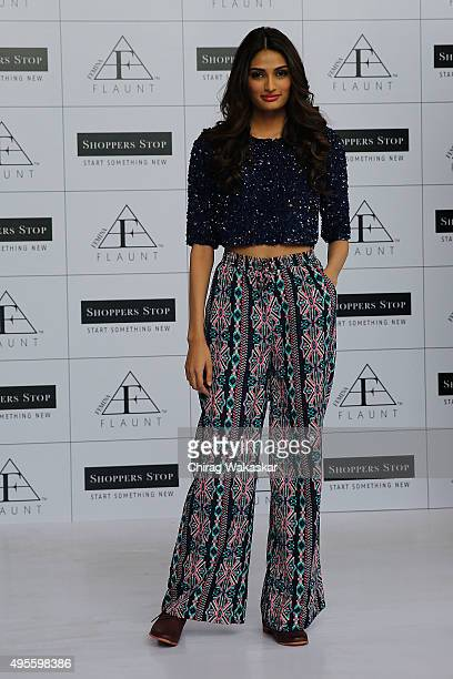 Athiya Shetty walks the runway at the launch of Shoppers Stops Femina Flaunt Collection at Shoppers Stop on November 4 2015 in Mumbai India