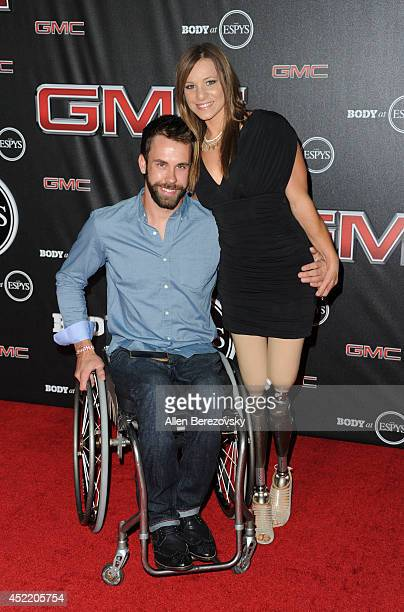 Athlete Aaron Pike and rower Oksana Masters attend ESPN Presents BODY At ESPYS PreParty at Lure on July 15 2014 in Hollywood California