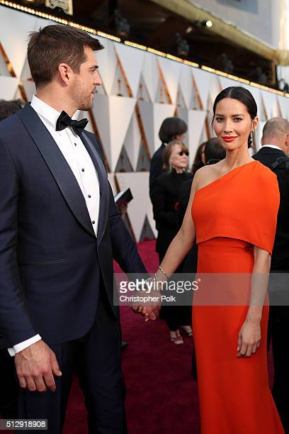Athlete Aaron Rodgers and actress Olivia Munn attend the 88th Annual Academy Awards at Hollywood Highland Center on February 28 2016 in Hollywood...