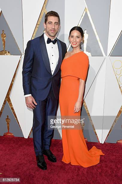Athlete Aaron Rodgers and actress Olivia Munn attends the 88th Annual Academy Awards at Hollywood Highland Center on February 28 2016 in Hollywood...