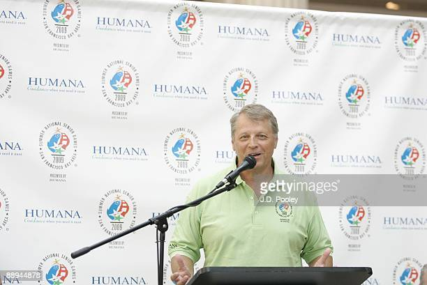 Athlete Al Fess speaks during the 2009 Humana & National Senior Games Athlete send-off tour at Tower City Center - Grand Staircase in Skyline...