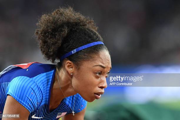 US athlete Allyson Felix competes in the semifinals of the women's 400m athletics event at the 2017 IAAF World Championships at the London Stadium in...
