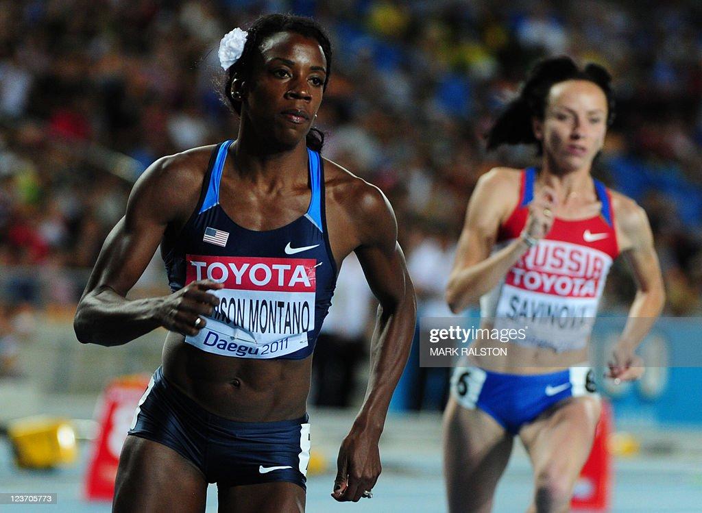US athlete Alysia Johnson Montano (L) an : News Photo