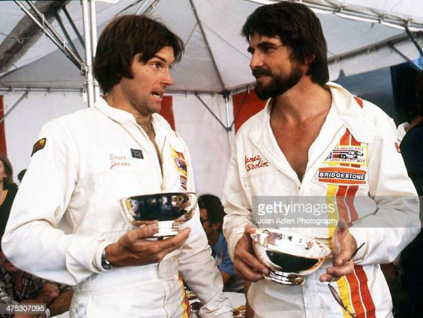 Athlete and TV personality Bruce Jenner chats with actor James Brolin at the 4th United States Toyota Grand Prix west on April 8, 1979 in Long Beach,...