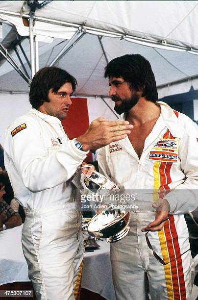 Athlete and TV personality Bruce Jenner chats with actor James Brolin at the 4th United States Toyota Grand Prix west on April 8 1979 in Long Beach...