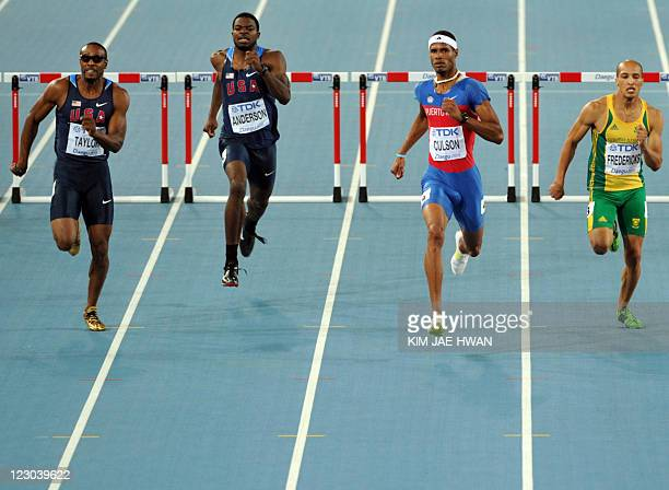 US athlete Angelo Taylor US athlete Jeshua Anderson Puerto Rico's Javier Culson and South Africa's Cornel Fredericks compete in the men's 400 metres...