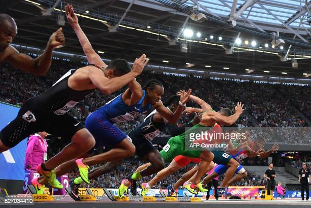 US athlete Aries Merritt competes in the semifinals of the men's 400m athletics event at the 2017 IAAF World Championships at the London Stadium in...