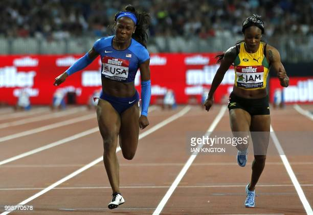 Athlete Ashley Henderson beats Jamaica's Elaine Thompson on the line in the women's 100m during the Athletics World Cup team competition at the...