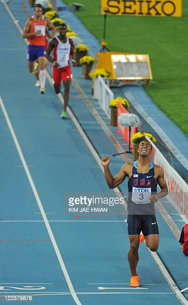 US athlete Ashton Eaton finishes and wins his decathlon 1500 metres event at the International Association of Athletics Federations World...