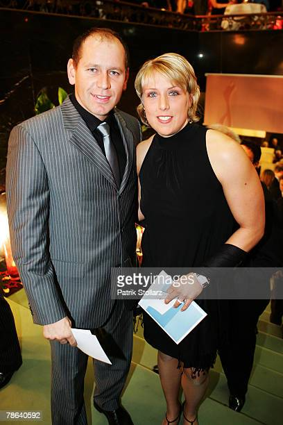 Athlete Astrid Kumbernuss and her boyfriend Henry Grattolf arrive for 'Best Sportsman of the Year 2007' awards at the Kurhaus Casino on December 22...