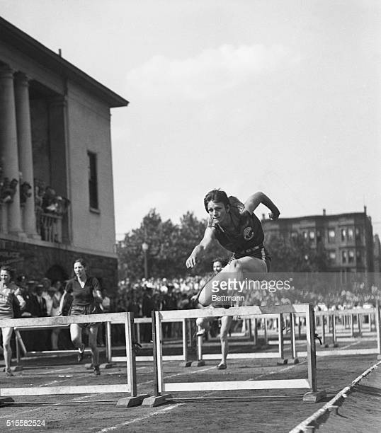 Athlete Babe Dickerson jumps a hurdle in an event she won at the 1932 Olympics in Los Angeles.