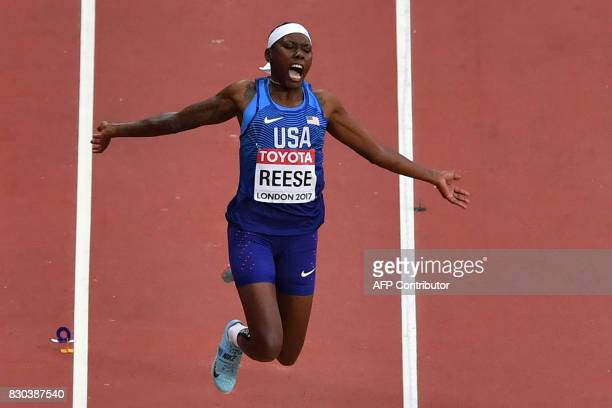US athlete Brittney Reese competes in the final of the women's long jump athletics event at the 2017 IAAF World Championships at the London Stadium...