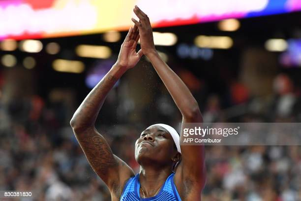 US athlete Brittney Reese reacts during the final of the women's long jump athletics event at the 2017 IAAF World Championships at the London Stadium...