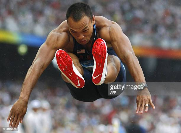 US athlete Bryan Clay competes during the men's decathlon long jump qualifications at the National Stadium in the 2008 Beijing Olympic Games on...