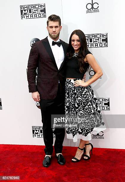 Athlete Bryce Harper and Kayla Varner attend the 2016 American Music Awards at Microsoft Theater on November 20 2016 in Los Angeles California