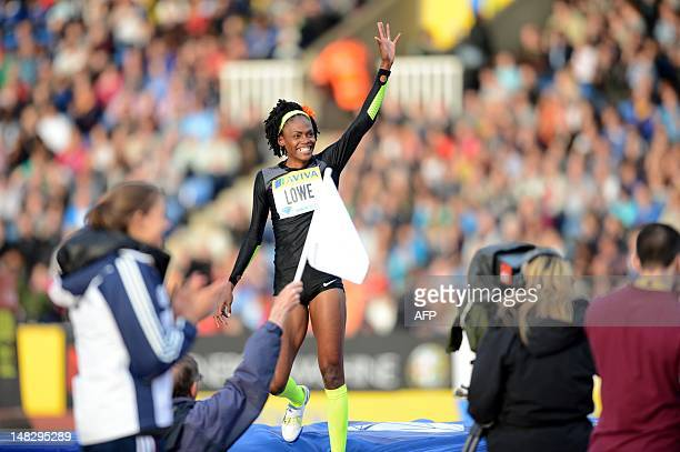 US athlete Chaunte Lowe celebrates after a jump in the women's high jump competition at the 2012 Diamond League athletics meet at Crystal Palace in...