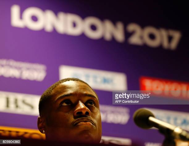 US athlete Christian Coleman attends a press conference at the London Stadium in London on August 3 2017 on the eve of the start of the 2017 IAAF...