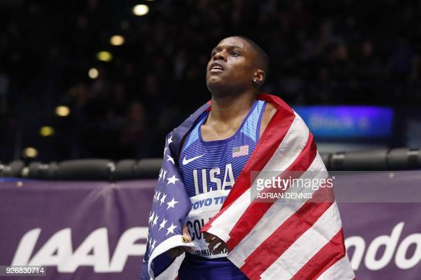 US athlete Christian Coleman celebrates winning the men's 60m final at the 2018 IAAF World Indoor Athletics Championships at the Arena in Birmingham...