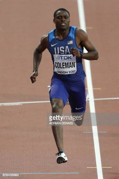 US athlete Christian Coleman wins a heat of the men's 100m athletics event at the 2017 IAAF World Championships at the London Stadium in London on...