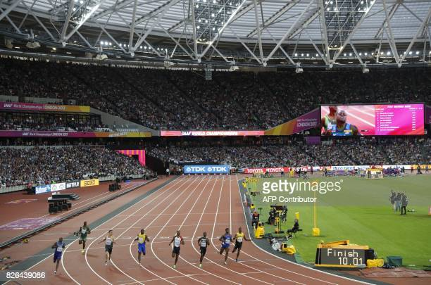 US athlete Christian Coleman wins the heats of the men's 100m athletics event at the 2017 IAAF World Championships at the London Stadium in London on...