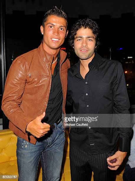 Athlete Christian Ronaldo and actor Adrian Grenier during the Premiere of ABSOLUT Los Angeles at The Kress on July 23 2008 in Hollywood California