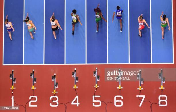 b5f1a9ad3784c3 US athlete Christina Manning competes in the women's 60m hurdles semifinals  at the 2018 IAAF World