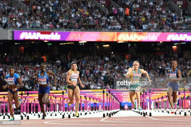 US athlete Christina Manning US athlete Dawn Harper Nelson Germany's Pamela Dutkiewicz winner Australia's Sally Pearson and US athlete Kendra...