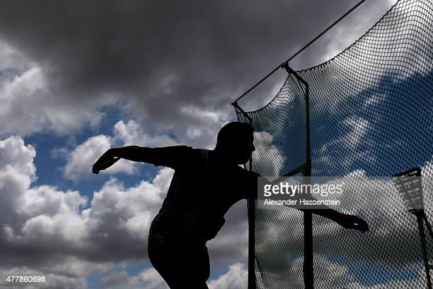 Athlete compete in the discus throw finale of the IPC Athletics Grand Prix Berlin 2015 at FriedrichLudwigJahnSportpark on June 20 2015 in Berlin...