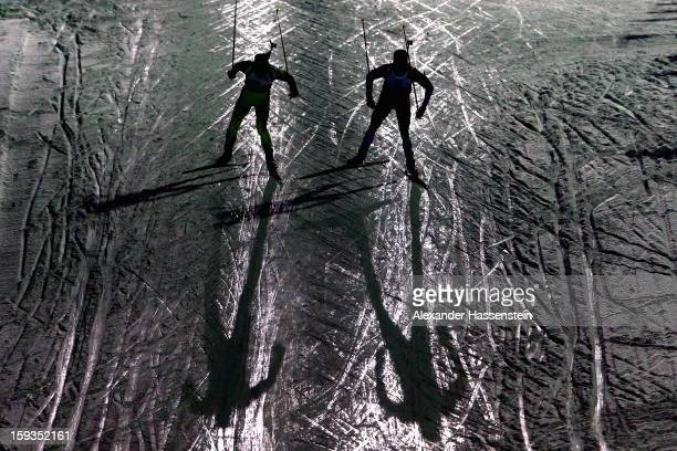 Athlete compete in the men's 10km sprint event during the IBU Biathlon World Cup at Chiemgau Arena on January 12, 2013 in Ruhpolding, Germany.