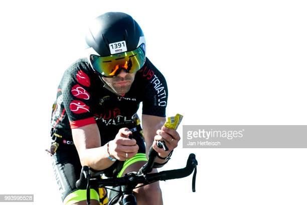 Athlete competes during the bike leg at the Mainova IRONMAN European Championship on July 8 2018 in Frankfurt am Main Germany