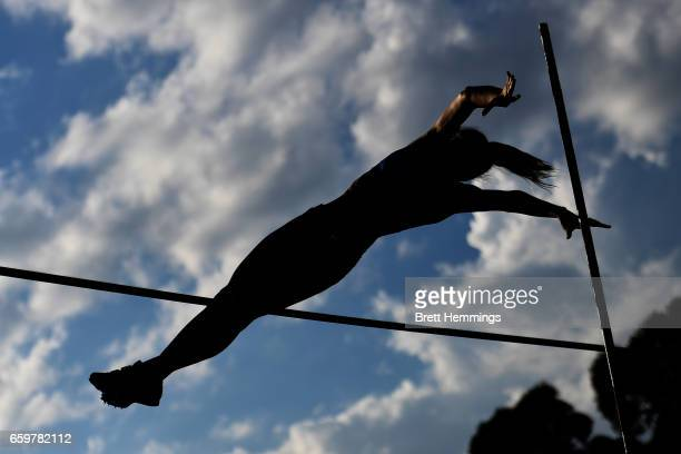 Athlete competes in the U16 Womens Pole Vault during day four of the 2017 Australian Athletics Championships at Sydney Olympic Park Sports Centre on...
