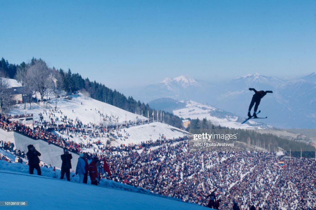 Athlete In Ski Jump Competition In The 1968 Winter Olympics : News Photo