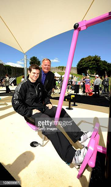 Athlete Craig Pickering poses with Councillor Peter Brookshaw at the opening of the adidas London 2012 adiZone an outdoor gym facility on August 27...