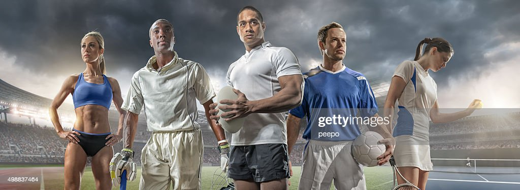 Athlete, Cricketer, Rugby Player, Footballer and Tennis Player : Stock Photo