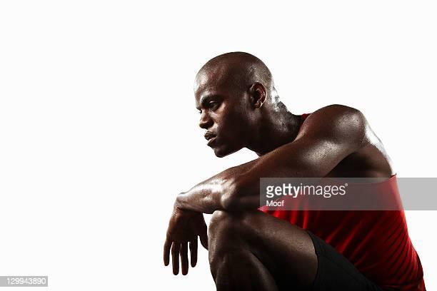 Athlete crouching