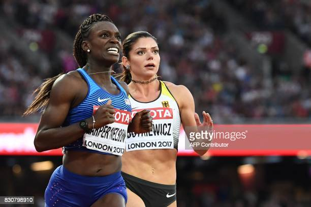US athlete Dawn Harper Nelson celebrates her silver medal next third placed Germany's Pamela Dutkiewicz in the final of the women's 100m hurdles...
