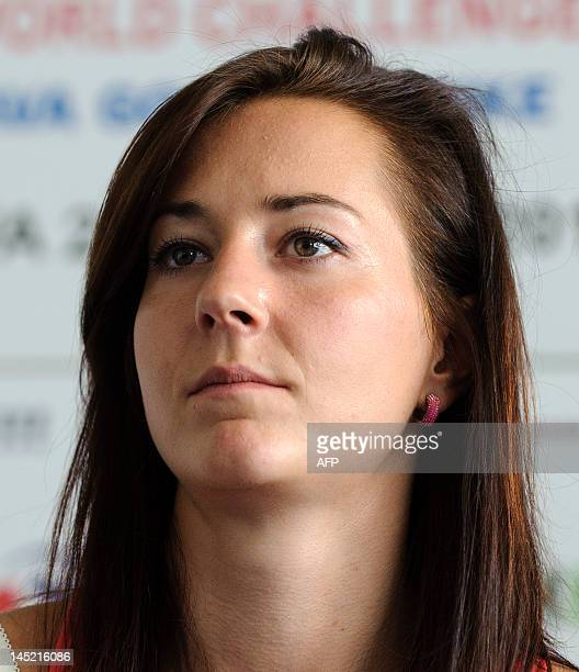 Athlete Denisa Rosolova of Czech Republic looks on during a press conference on May 24 2012 prior to the Zlata Tretra athletics meeting in the...