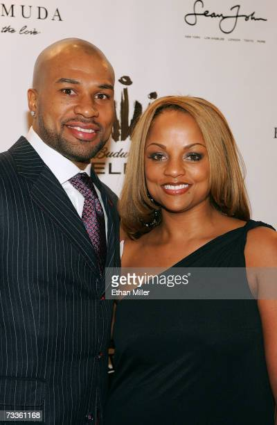 NBA athlete Derek Fisher and wife Candance arrive at the 2007 NBPA AllStar Gala presented by Budweiser Select at the Mandalay Bay Events Center on...