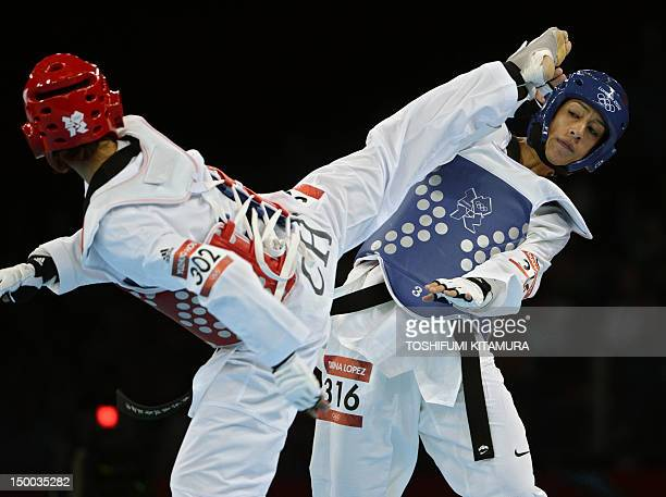 US athlete Diana Lopez fights against China's Hou Yuzhuo during their women's taekwondo bout in the under 57 kg category as part of the London 2012...